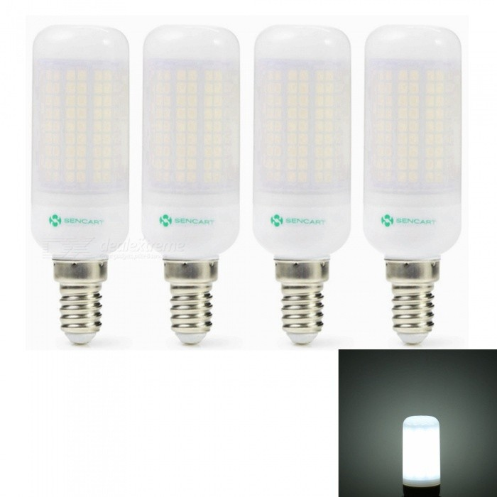 Sencart 4pcs E27 8W 800LM SMD Cool White Energy Saving LED Light Bulb Lamp Matte Shell AC 220-240VE14<br>Emitting ColorCool WhitePower SupplyAC220-240VModel180 LEDMaterialABS+LED+PCBForm  ColorOthers,MattingQuantity4 piecesPower8WRated VoltageAC 110-130 VConnector TypeE14Chip BrandEpistarChip Type2835Emitter TypeOthers,2835SMDTotal Emitters180Theoretical Lumens1200 lumensActual Lumens800 lumensColor Temperature6500KDimmableNoBeam Angle360 °Packing List4 x LED Light Bulbs<br>