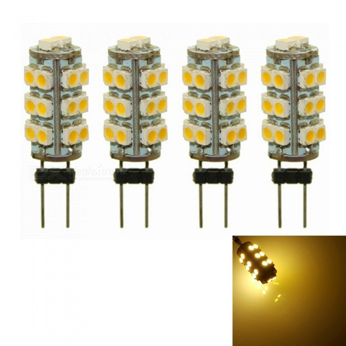 Sencart 4Pcs G4 SMD 3528 26-LED Warm White  DC 12V 2W RV Marine Boat Camper Light Bulb LampG4<br>Color26LED Warm WhiteModelG4 Light BulbMaterialPCB+LEDForm  ColorWhiteQuantity4 piecesPower2WRated VoltageOthers,9-16 VConnector TypeG4Chip BrandLUMILEDSChip Type2835Emitter TypeOthers,2835 SMD LEDTotal Emitters26Theoretical Lumens120 lumensActual Lumens80 lumensColor Temperature3000KDimmableNoBeam Angle360 °Packing List4 x G4 LED Light Bulbs<br>
