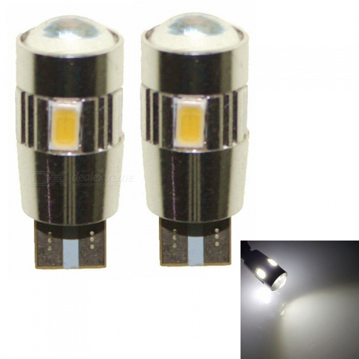 Sencart T10 6-LED 5630 SMD White Light Car Turn Signal Corner Parking Lamp (DC 12V / 2 PCS)Signal Lights<br>ColorT10 6SMD LEDModelT10 LED Light BulbQuantity2 piecesMaterialPCB+LEDPower3 WWorking Voltage9-16VConnectorOthers,T10Bulb Specification5630SMD LEDBrightness180-240LMColor BIN6000-6500KApplicationHigh Beam Lamp,Low Beam Lamp,Front Turn Signals Bulb,Side Turn Signals Bulb,Rear Turn Signals Bulb,Brake BulbPacking List2 x T10 LED Light Bulbs<br>