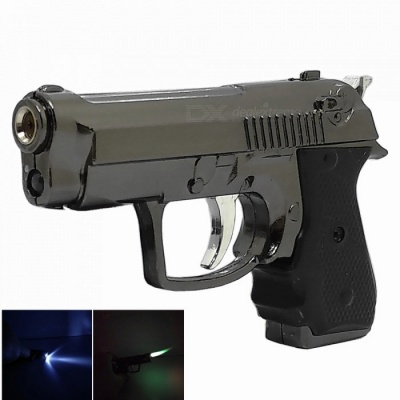 Mini Zinc Alloy Pistol Shape Windproof Lighter with LED for Smoking / Lit - Gray