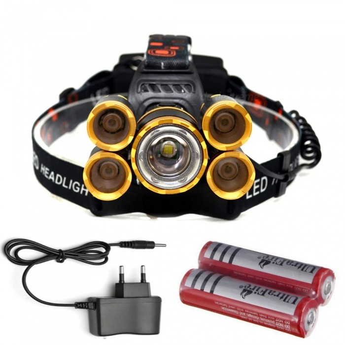 Buy AIBBER TONE Outdoor T6 + XPE 16000lm 5-LED Headlight Headlamp with Charger and 18650 Battery with Litecoins with Free Shipping on Gipsybee.com
