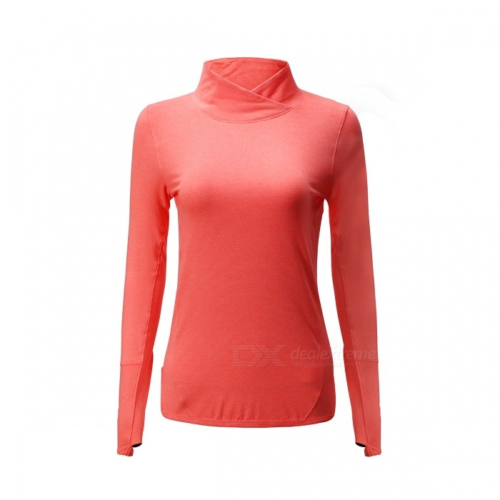 LS299 Long Sleeves Fitness Outdoor Sports Running High Collar Shirt Yoga Shirts - LColororangeSizeLModelLS299Quantity1 pieceMaterial87% polyester+13% spandexGenderWomenPacking List1 x Sports Clothes<br>