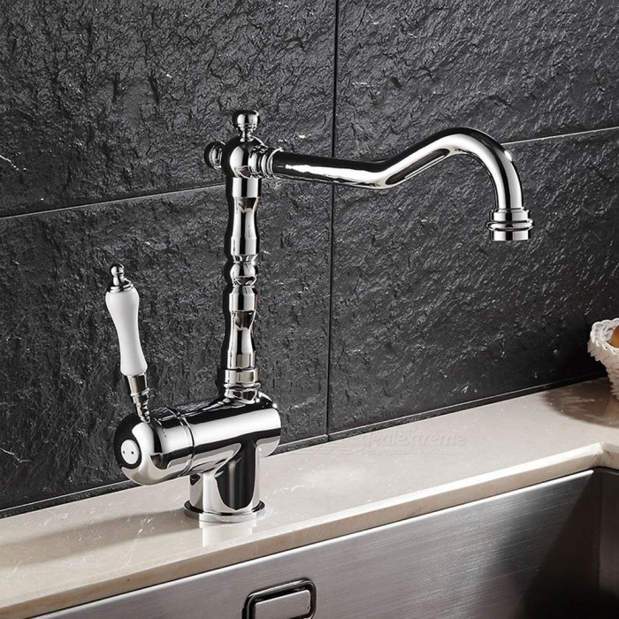 F-9087C Brass Chrome 360 Degree Rotatable One-Hole Kitchen Faucet with Ceramic Valve, Single Handle
