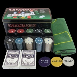 Bargaining-200pcs-Poker-Chips-Set-and-Blackjack-Poker-Table-Layout-and-Dealer-and-2-Blinds-and-2-Playing-Cards-Multicolor