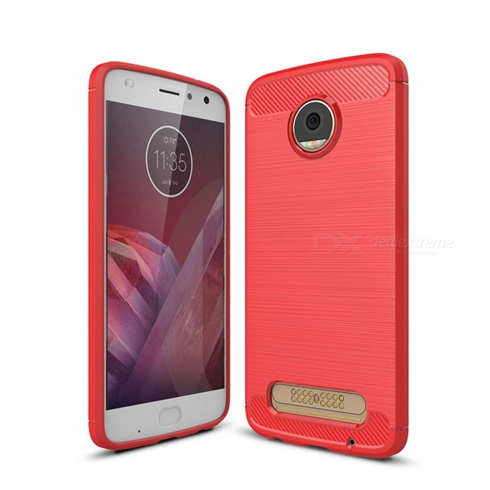 Naxtop Wire Drawing Carbon Fiber Textured TPU Brushed Finish Soft Phone Back Cover Case For Moto Z2 PlayTPU Cases<br>ColorRedModelN/AMaterialTPUQuantity1 pieceShade Of ColorRedCompatible ModelsMoto Z2 PlayPacking List1 x Case<br>