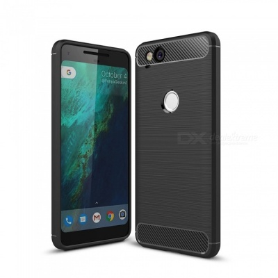 Naxtop Wire Drawing Carbon Fiber Textured TPU Brushed Finish Soft Phone Back Cover Case For Google Pixel 2