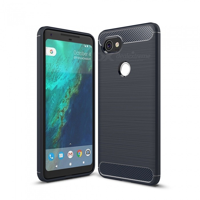 Naxtop Wire Drawing Carbon Fiber Textured TPU Brushed Finish Soft Phone Back Cover Case For Google Pixel 2 XL