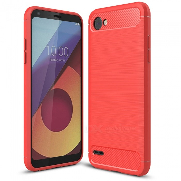 Naxtop Wire Drawing Carbon Fiber Textured TPU Brushed Finish Soft Phone Back Cover Case For LG Q6TPU Cases<br>ColorRedModelN/AMaterialTPUQuantity1 pieceShade Of ColorRedCompatible ModelsLG Q6Packing List1 x Case<br>