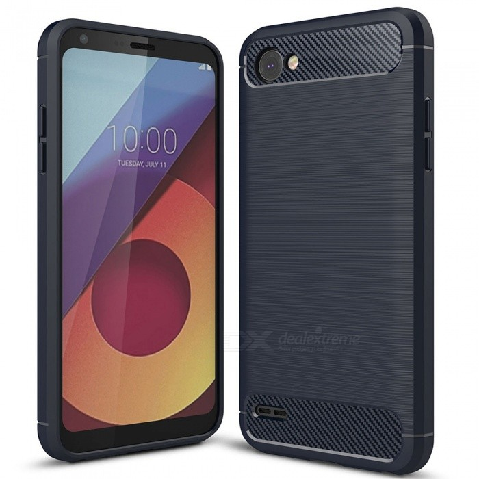 Naxtop Wire Drawing Carbon Fiber Textured TPU Brushed Finish Soft Phone Back Cover Case For LG Q6
