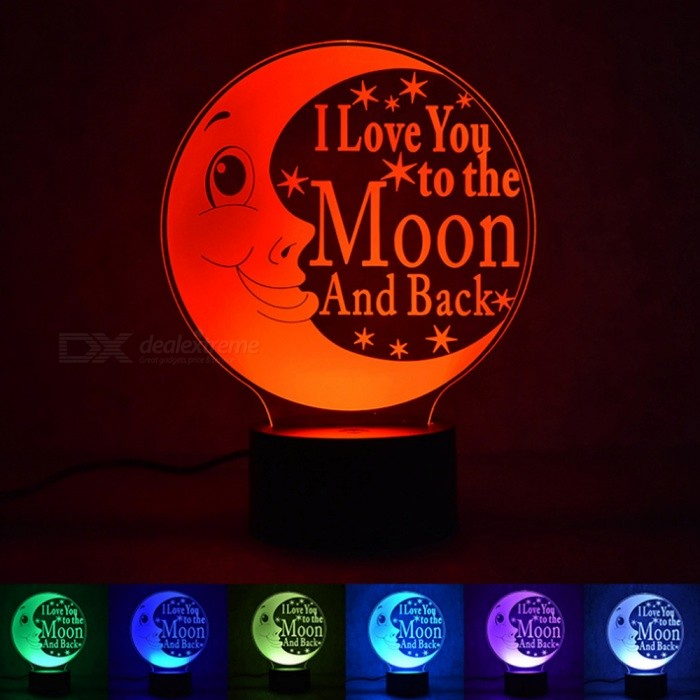 Romantic 3D Stereo Love Moon Colorful Night Light Smart Home LED Touch LampLED Nightlights<br>Form  ColorTransparentMaterialABS + acrylicQuantity1 setPower3WRated VoltageOthers,5V VColor BINRGBDimmableYesInstallation TypeInsertedPacking List1 x Acrylic Plate1 x Base1 x USB Cable<br>