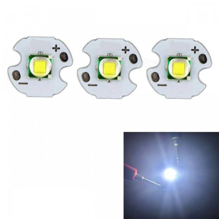 JRLED 14mm PCB 10W Cool White 5050-T6 SMD Bright Flashlight Bulb DC 3-3.5V - 3PCSLeds<br>Emitting ColorCool WhiteSize14mmModelJR-5050-10WMaterialAluminium alloy+LEDQuantity3 piecesPower10 WRate VoltageDC3-3.5VWorking Current0-2500 mADimmableYesEmitter Type5050 SMD LEDTotal Emitters1Beam Angle120 °Color Temperature6500KTheoretical Lumens800 lumensActual Lumens700 lumensWavelengthN/AConnector TypeOthers,Solder jointCertificationCE ROHSOther FeaturesThis product adopts Taiwan large single crystal chip, packaged into 5050 types of beads, beads size and XML size.Packing List3 x 10W LEDs<br>