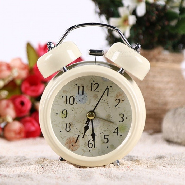 Buy Household Retro Vintage Cool Alarm Clock Round Number Double Bell Desk Table Digital Clock Home Decor - White with Litecoins with Free Shipping on Gipsybee.com