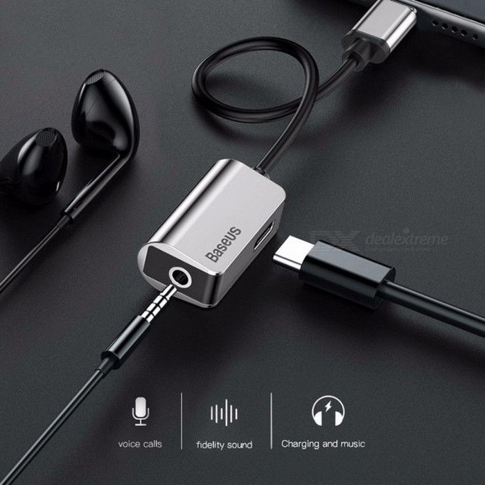 Baseus Type-C Audio Cable Adapter Type C to 3.5mm Jack Earphone Fast Charger USB C Splitter For Xiaomi Mi 6 Huawei Mate 10 Pro 12cm/Black