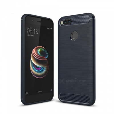 Naxtop Wire Drawing Carbon Fiber Textured TPU Brushed Finish Soft Phone Back Cover Case For Xiaomi Mi A1