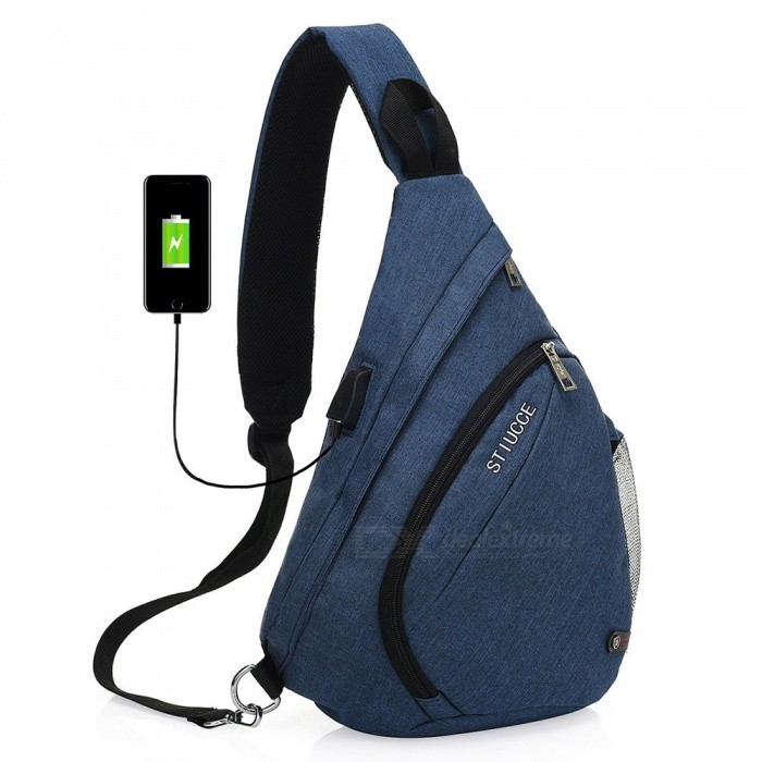 STIUCCE Crossbody Bag Backpack with USB Charging Port, Triangular Sling Chest Rucksack - BlueColorBlueModel501-BlueQuantity1 pieceMaterialNylonTypeCasualSizeOthers,21x12x38cmCapacity5LRaincover includedNoGenderUnisexBest UseTravelPacking List1 x Backpack<br>