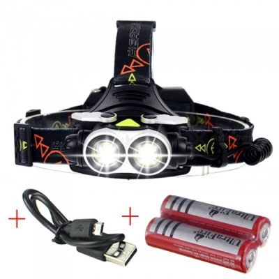 AIBBER TONE 20000LM Cree 2 x T6 LED Headlight Flashlight Torch, USB Rechargeable Headlamp