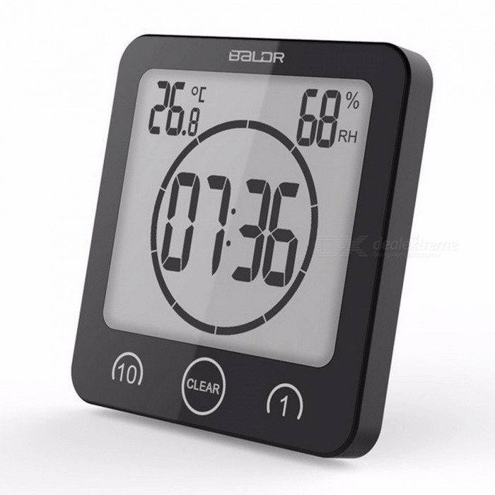 Buy Baldr Digital Timer Clock Alarm Countdown Thermometer Hygrometer, Shower Makeup Cooking Stopwatch / Suction Cup Wall Clock Black with Litecoins with Free Shipping on Gipsybee.com