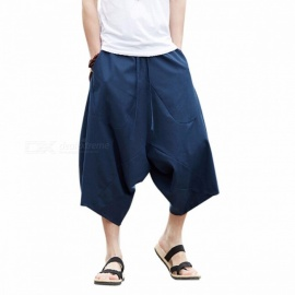 G-LIKE-Summer-Chinese-Style-Mens-Loose-Cotton-Linen-Cropped-Trouser-Leisure-Breathable-Knickers-Comfortable-Martial-Art-Pants-XLNavy