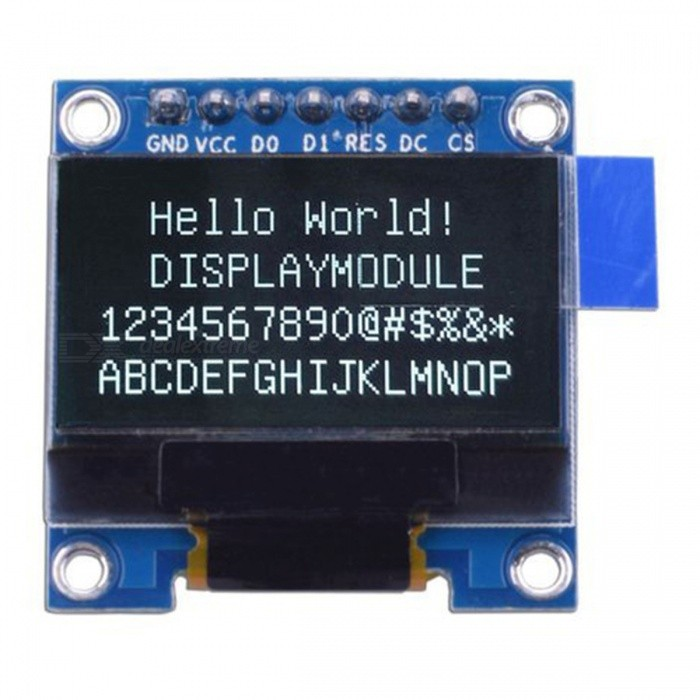 Produino 0.96 inch 128 x 64 White OLED Display Module SPI Interface 7 Pin for ArduinoLCD, LED Display Module<br>Color1ModelNOQuantity1 pieceMaterialFR-4Screen TypeOLEDScreen Size0.96 inchResolutionOthers,128*64Working Voltage   2.8-5.5 VEnglish Manual / SpecNoDownload Link   NOPacking List1 x 0.96 OLED Display Module<br>