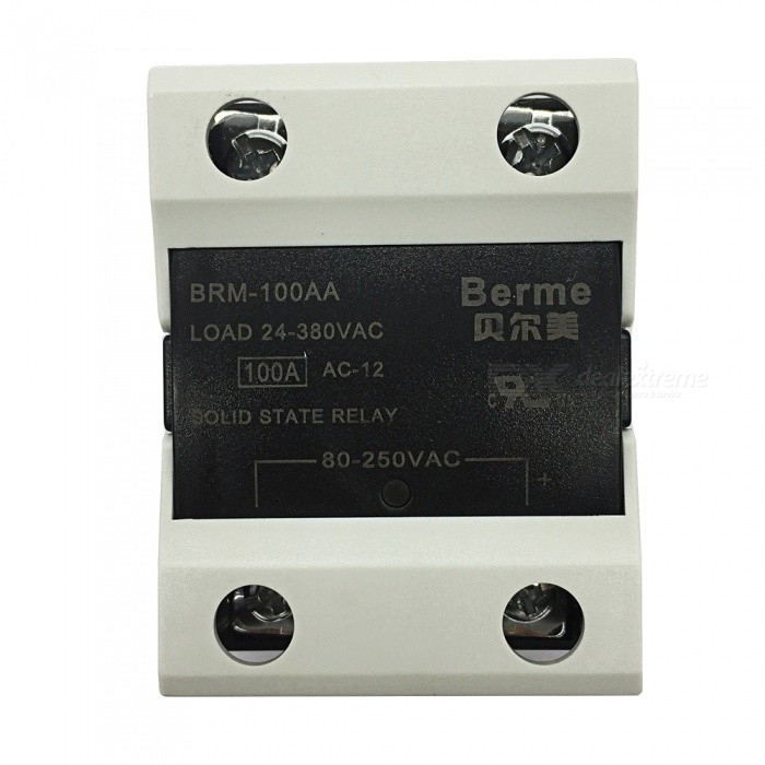 BRM-100AA 80-250V AC to 380V AC 100A Single Phase Solid State AC-AC RelayDIY Parts &amp; Components<br>Rated Current100AModelBEM-100AQuantity1 pieceMaterialPlastic,MetalEnglish Manual / SpecNoCertificationISO9001Packing List1 x BEM-100AA  Solid State Relay.<br>