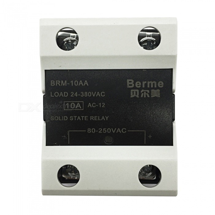 BRM-10AA 80-250V AC to 380V AC 10A Single Phase Solid State AC-AC RelayDIY Parts &amp; Components<br>Rated Current10AModelBEM-10AQuantity1 pieceMaterialPlastic,MetalEnglish Manual / SpecNoCertificationISO9001Packing List1 x BEM-10AA Solid State Relay.<br>
