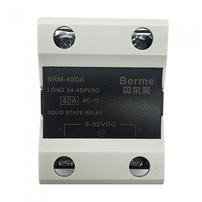 BRM-40DA 3-32V DC to 480V AC 40A Single Phase Solid State AC-DC RelayDIY Parts &amp; Components<br>Rated Current40AModelBEM-40DAQuantity1 pieceMaterialPlastic,MetalEnglish Manual / SpecNoCertificationISO9001Packing List1 x BEM-40DA  Solid State Relay.<br>