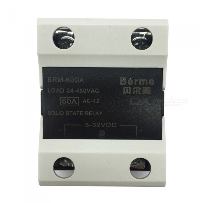 BRM-60DA 3-32V DC to 480V AC 60A Single Phase Solid State AC-DC RelayDIY Parts &amp; Components<br>Rated Current60AModelBEM-60DAQuantity1 pieceMaterialPlastic,MetalEnglish Manual / SpecNoCertificationISO9001Packing List1 x BEM-60DA  Solid State Relay.<br>