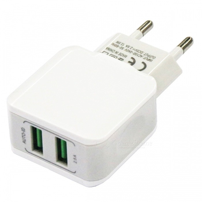 Portable Dual USB 12.5W 2.5A Mobile Phone Fast Charger