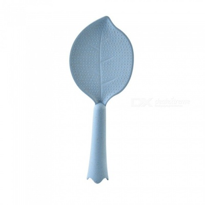 Creative Wheat Straw Leaf Shape Non-Stick Vertical Rice Meal Spoon - Light Blue