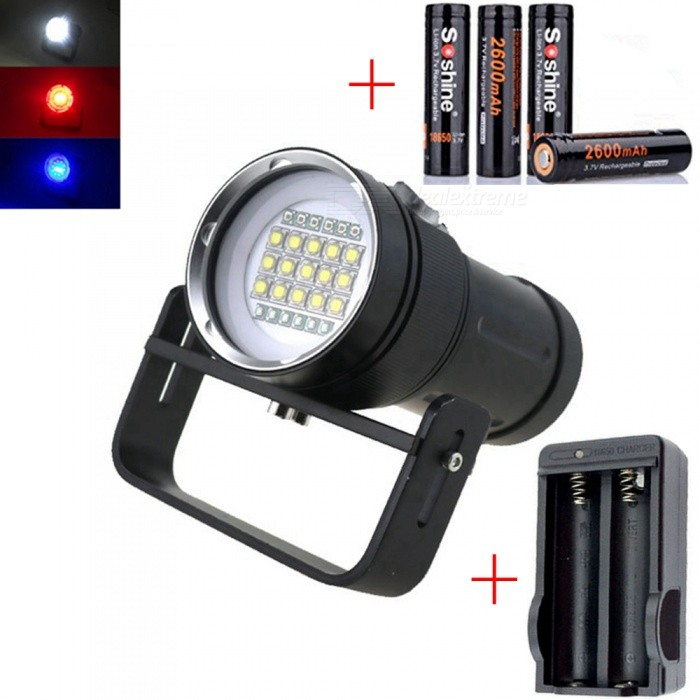 AIBBER TONE CREE XM-L2 27-LED White Blue Red Light 18000LM Diving LED Flashlight, Underwater Photography Fill LightDiving Flashlights<br>BundlesWith Battery + ChargerQuantity1 setMaterialAluminum AlloyEmitter BrandCreeLED TypeXM-L2Emitter BINothers,l2Color BINRed,Purple,WhiteNumber of EmittersOthers,27Actual Lumens18000 lumensPower Supply18650Working Voltage   2.8-4.5 VCurrent- ARuntime1-2 hoursNumber of Modes4Mode ArrangementHi,Mid,Low,SOSSwitch TypeForward clickySwitch LocationSideLens MaterialGlassReflectorAluminum SmoothWorking Depth Underwater100 mStrap/ClipNoPacking List1 x Diving Flashlight1 x Handheld holder4 x Soshine 18650 2600mAh batteries1 x Charger<br>