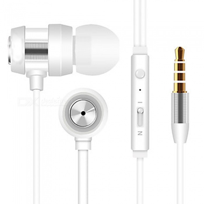 In-Ear Wired Earphones Aluminum Alloy Mobile Phone Headphones Noise-isolating with Microphone HeadsetHeadphones<br>ColorSilverBrandOthersMaterialABSQuantity1 DX.PCM.Model.AttributeModel.UnitConnection3.5mm WiredBluetooth VersionNoHeadphone StyleEarbud,In-EarWaterproof LevelOthersApplicable ProductsUniversalHeadphone FeaturesPhone Control,Volume Control,With Microphone,PortableSupport Memory CardNoSupport Apt-XNoPacking List1 x Headset<br>