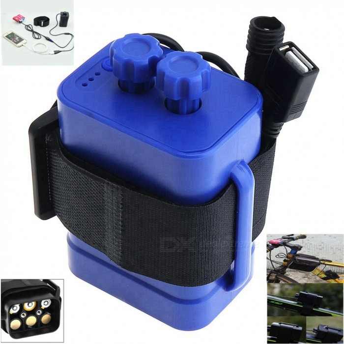 AIBBERTONE Portable Waterproof Battery Case Box with USB Interface,Support 6x 18650 Battery for Bicycle LED Light / Mobile PhoneBatteries<br>ColorBlueModel6 battery boxQuantity1 setMaterialABSCell TypeLithium IonBattery Model18650Voltage7.2-8.4 VRechargeableYesRechargeable TimesOthers,1000Built-in Protected CircuitYesOver Voltage ProtectionYesShort-Circuit ProtectionYesOver-Charging ProtectionYesOver-Discharging ProtectionYesMercury FreeYesInterface5.5 x 2.1 / USB cmBattery Pack Form6 x 18650Packing List1 x Battery case (cable length: 55cm, interface: 5.5 x 2.1 / USB)1 x Strap<br>