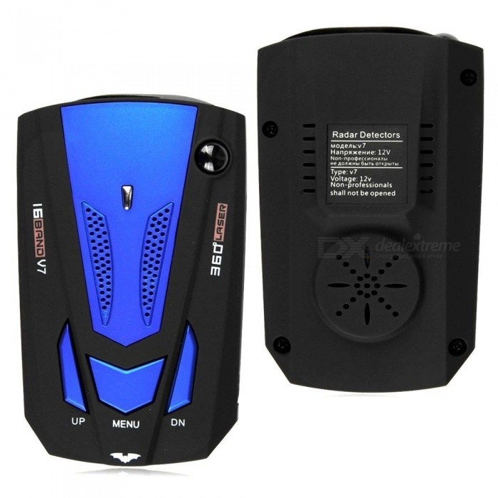 V7 360 Degree Car Vehicle Radar Detector with Speed Voice Alert - Blue