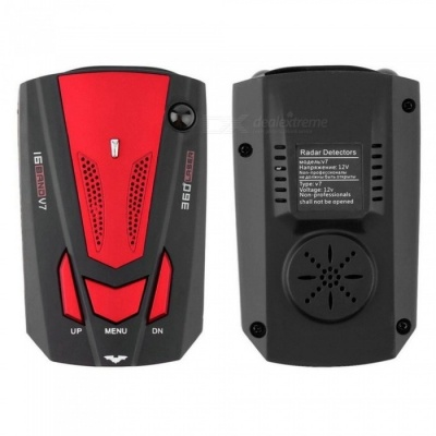 V7 360 Degree Car Vehicle Radar Detector with Speed Voice Alert - Red