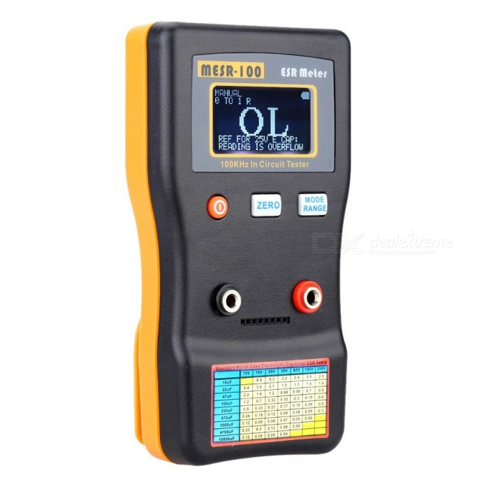 ZHAOYAO Professional Capacimetro Resistance Circuit Capacitors Tester, ESR Meter High Precision Capacitance Diagnostic-ToolOther Measuring &amp; Analysing Instruments<br>ColorYellow + BlackModel-Quantity1 pieceMaterialPlasticScreen Size- cmPowered ByOthers,-Battery Number-Battery included or notNoOther Features-Certification-Packing List1 x Capacitance Meter2 x Test Clips1 x User Manual<br>