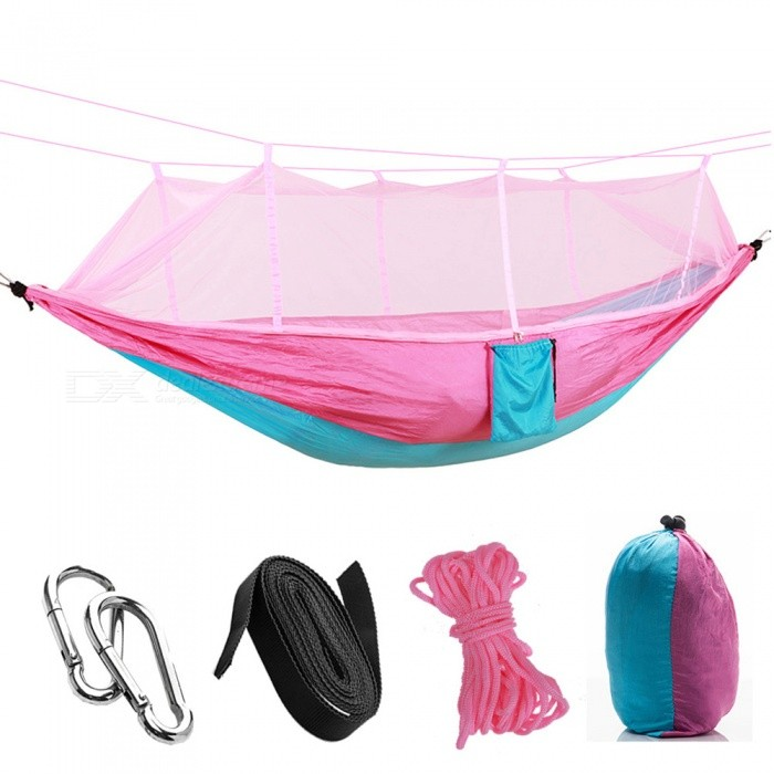 260 x 140cm Outdoors 210T Nylon Spinning Convenient Double Mosquito Net Hammock