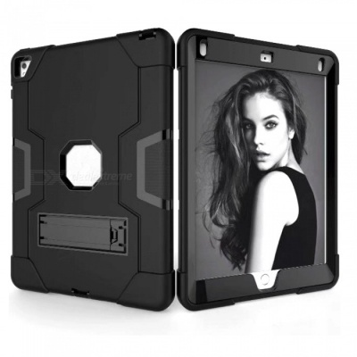 """3-in-1 Protective Silicone + PC Case Cover for IPAD 6, IPAD PRO 9.7"""" - Black"""