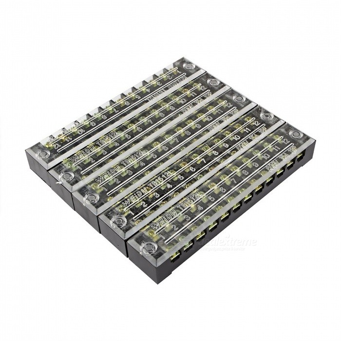 5 Pcs TB-1512 12 Positions Dual Rows 600V 15A Wire Barrier Block Terminal StripsDIY Parts &amp; Components<br>ModelTB1512ModelTB1512Quantity5 piecesMaterialCopper, PVCEnglish Manual / SpecNoOther Features600V    15ACertificationISO9001Packing List5 x Barrier Terminal Strips<br>