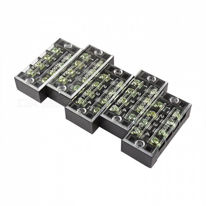 5 Pcs TB-2504 4 Positions Dual Rows 600V 25A Wire Barrier Block Terminal StripsDIY Parts &amp; Components<br>ModelTB2504ModelTB2504Quantity5 piecesMaterialCopper, PVCEnglish Manual / SpecNoOther Features600V     25ACertificationISO9001Packing List5 x Barrier Terminal Strips<br>
