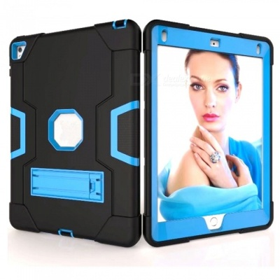 """Protective Silicone Shockproof Case Cover with Stand for IPAD 6 / IPAD PRO 9.7"""" - Blue + Black"""