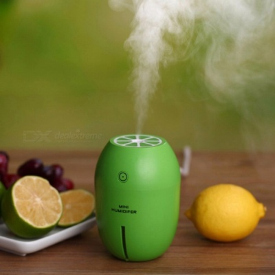 NM001 Creative Lemon Style USB Mini Ultrasonic Mute Air Humidifier for Home, Car or Office - Green