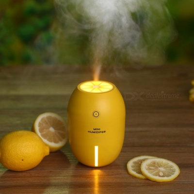 NM001 Creative Lemon Style USB Mini Ultrasonic Mute Air Humidifier for Home, Car or Office - Yellow