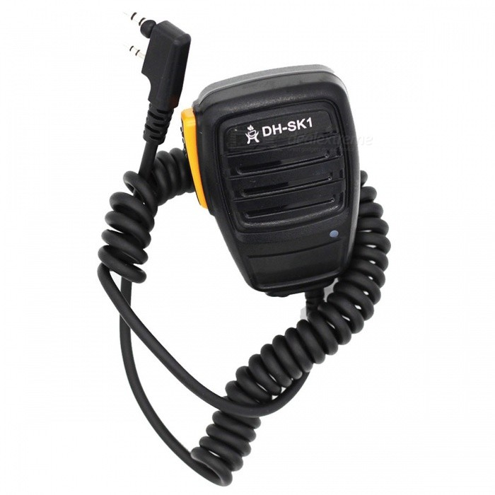 Ding Hong DH-SK1 Walkie-Talkie Hand Microphone for Kenwood, Quan Sheng, Baofeng UV5R / 888S - Orange + BlackWalkie Talkies Supplies<br>ColorOrange + blackQuantity1 pieceMaterialPVCCompatible BrandUniversalCompatible ModelUniversalPacking List1 x DH-SK1 intercom hand microphone<br>