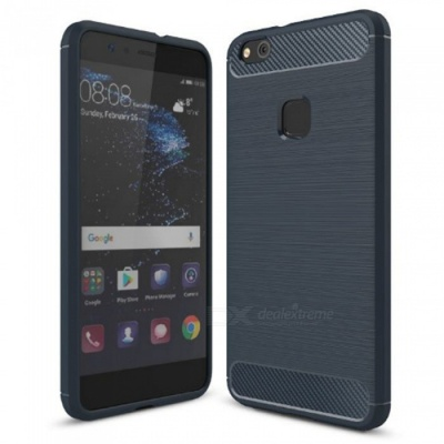 Naxtop Wire Drawing Carbon Fiber Textured TPU Brushed Finish Soft Phone Back Cover Case For Huawei P10 Lite - Blue