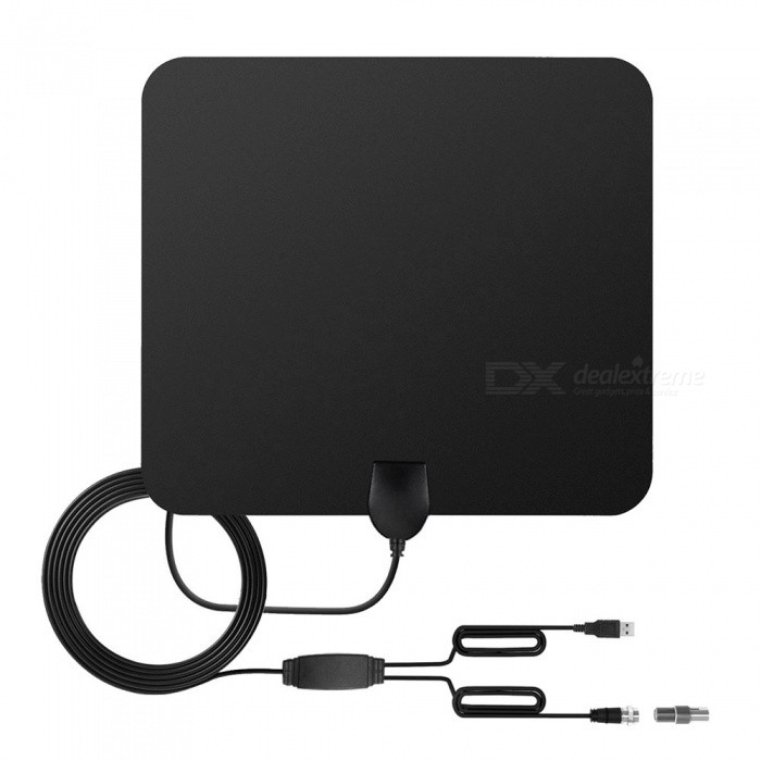 Buy TV Antenna Indoor HD Digital TV Antenna with 80 Miles Long Range - Black with Litecoins with Free Shipping on Gipsybee.com