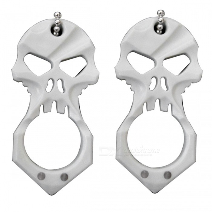 Outdoor Portable Skull Shape Defensive Weapon, Self-Defense Survival Ring EDC Tool for Women (2 PCS)ColorGrayQuantity2 piecesMaterialSteelNameSteel skull refers to defensive weaponsFeaturesSteel skull refers to defensive weaponsPacking List2 x Steel Skull EDC tools<br>