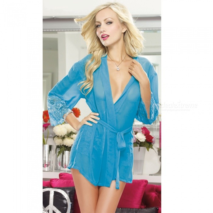 Sexy-Lingeries-Perspective-Lace-Bathrobe-Nightdress-with-Underwear-for-Women-Lake-Blue