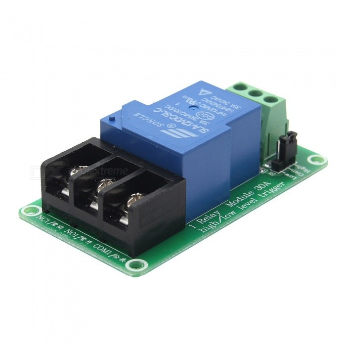 Geekworm 1 Channel 12V 30A LED Indicator Relay Module with Optocoupler Isolation High &amp; low Level TriggerRelays <br>Power Supply12VModel12VQuantity1 pieceMaterialPCB+Electric ComponentMax. LoadAC 250V / 30A, DC 30V / 30AInput Voltage12 VTrigger Current2-4mAhEnglish Manual / SpecNoDownload Link   http://www.raspberrypiwiki.com/index.php/1_Channel_30A_Relay_ModulePacking List1 x 12V Relay Module<br>