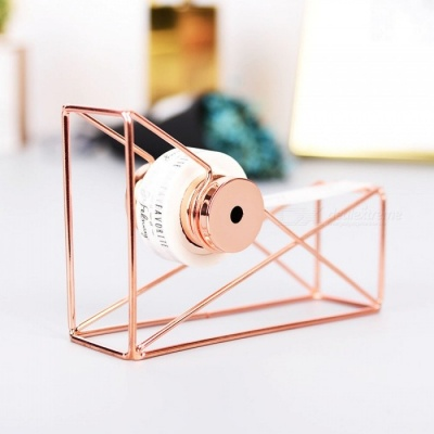 Vintage Ins Style Metal Iron Tape Base, Tape Holder Cutter  - Rose Gold