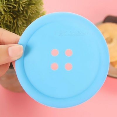 Round Shaped Silicone Cup Mat Pad - Blue